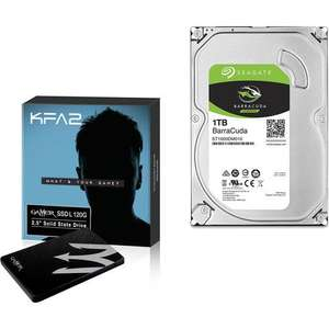 Pack SSD KFA2 Gamer L - 120 Go + Disque Dur Interne Seagate BarraCuda SATA III - 1 To
