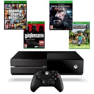 Pack console Xbox One 500 go + 4 jeux (GTA V + Wolfenstein The New Order + Metal Gear Solid V Ground Zeroes + Minecraft)