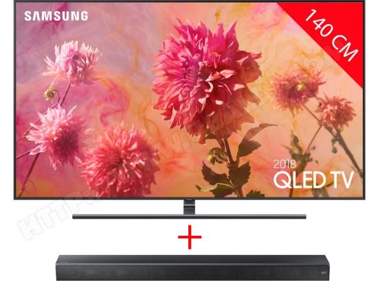 """Pack TV 55"""" Samsung QE55Q9F 2018 (4K UHD, QLED, Smart TV) + barre de son HWMS650/ZF (via ODR de 1000€)"""