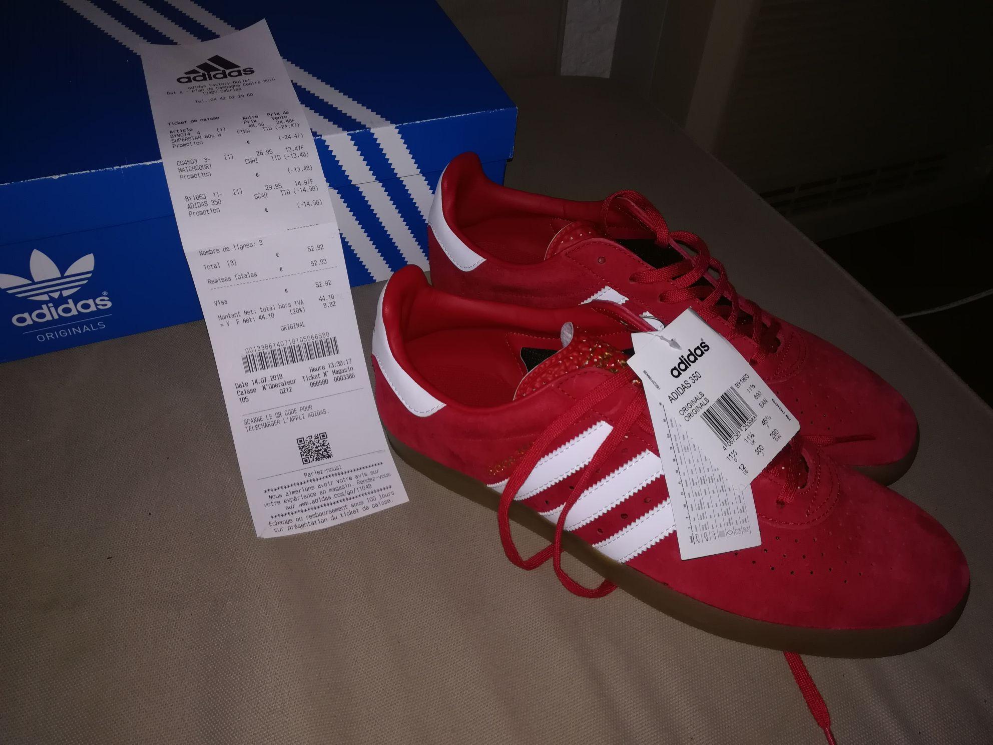 Paire de chaussures Adidas original 350 (Rouge) - Plan de campagne (13)