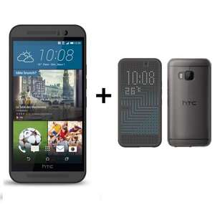 "Smartphone 5"" HTC One M9 Gris Acier + Coque Dot View Ice"