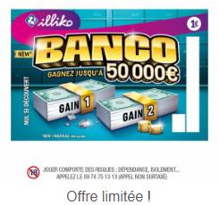 Jeu à gratter Banco 100% remboursé (Via Fidme)