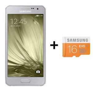 """Smartphone 4.5"""" Samsung Galaxy A3 Argent + carte SD 16go (via ODR de 30€)"""