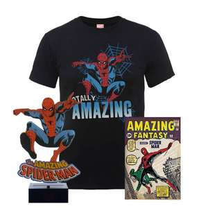 Pack Amazing Spider Man: T-Shirt Homme Totally Amazing + Affiche A3 Spider-Man + Lampe Veilleuse USB