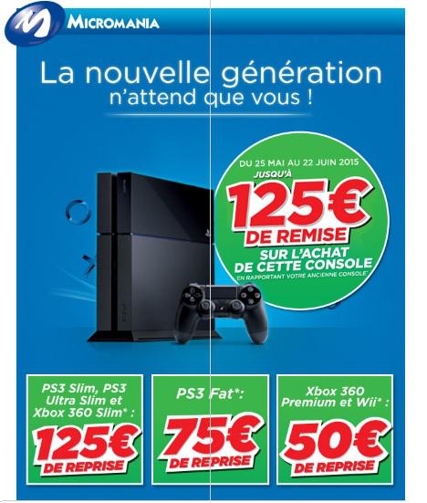 PS3 Slim / Ultra Slim ou Xbox 360 Slim reprise à 125€ pour l'achat simultané d'une PS4 soit la  PS4