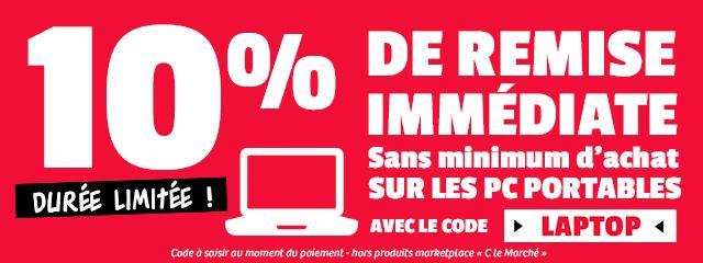 10% de réduction sans minimum d'achat sur les pc portables