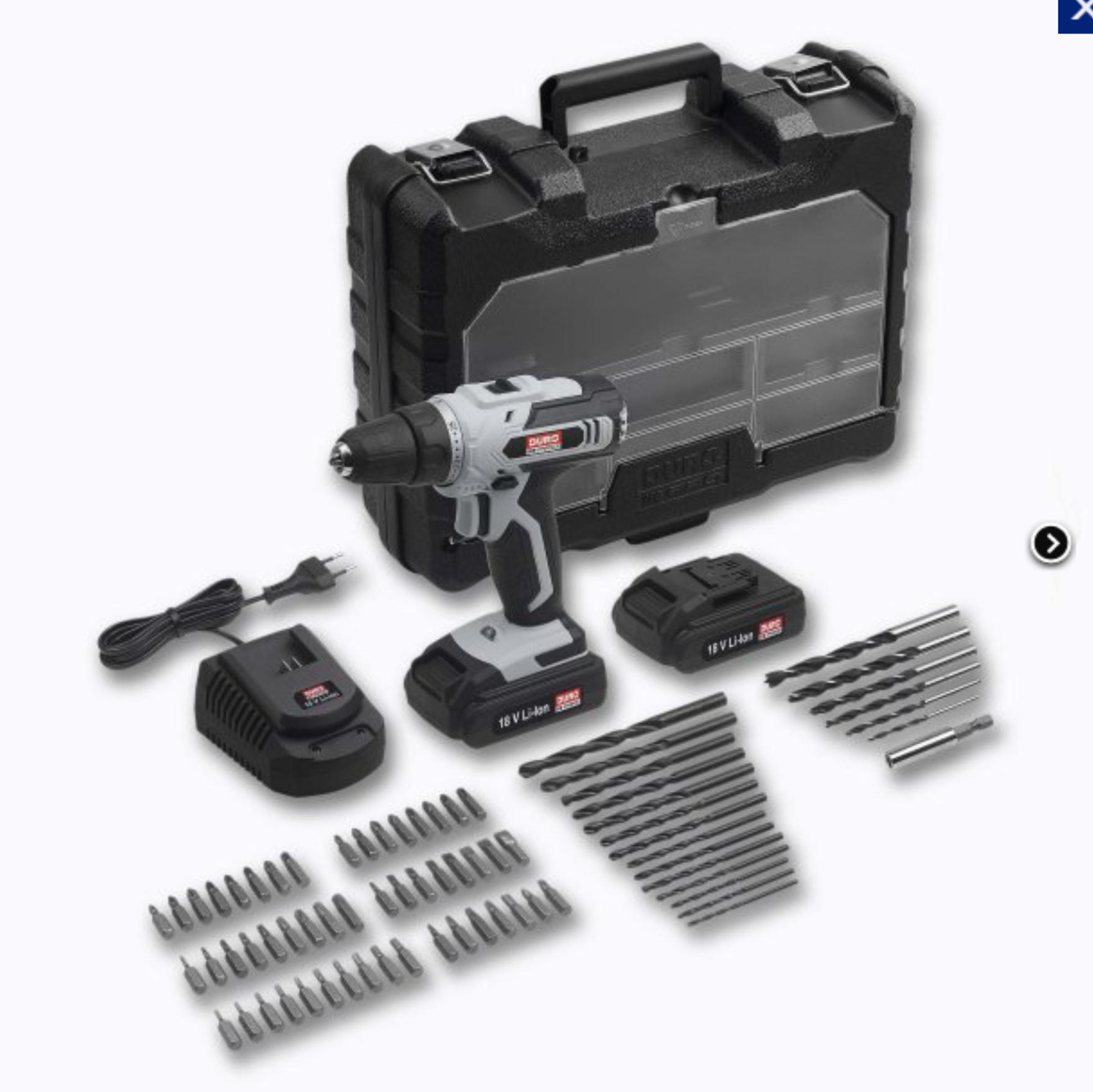 Coffret Perceuse sans fil 18V DURO - 2 Batteries 2.0 Ah charge rapide + Accessoires