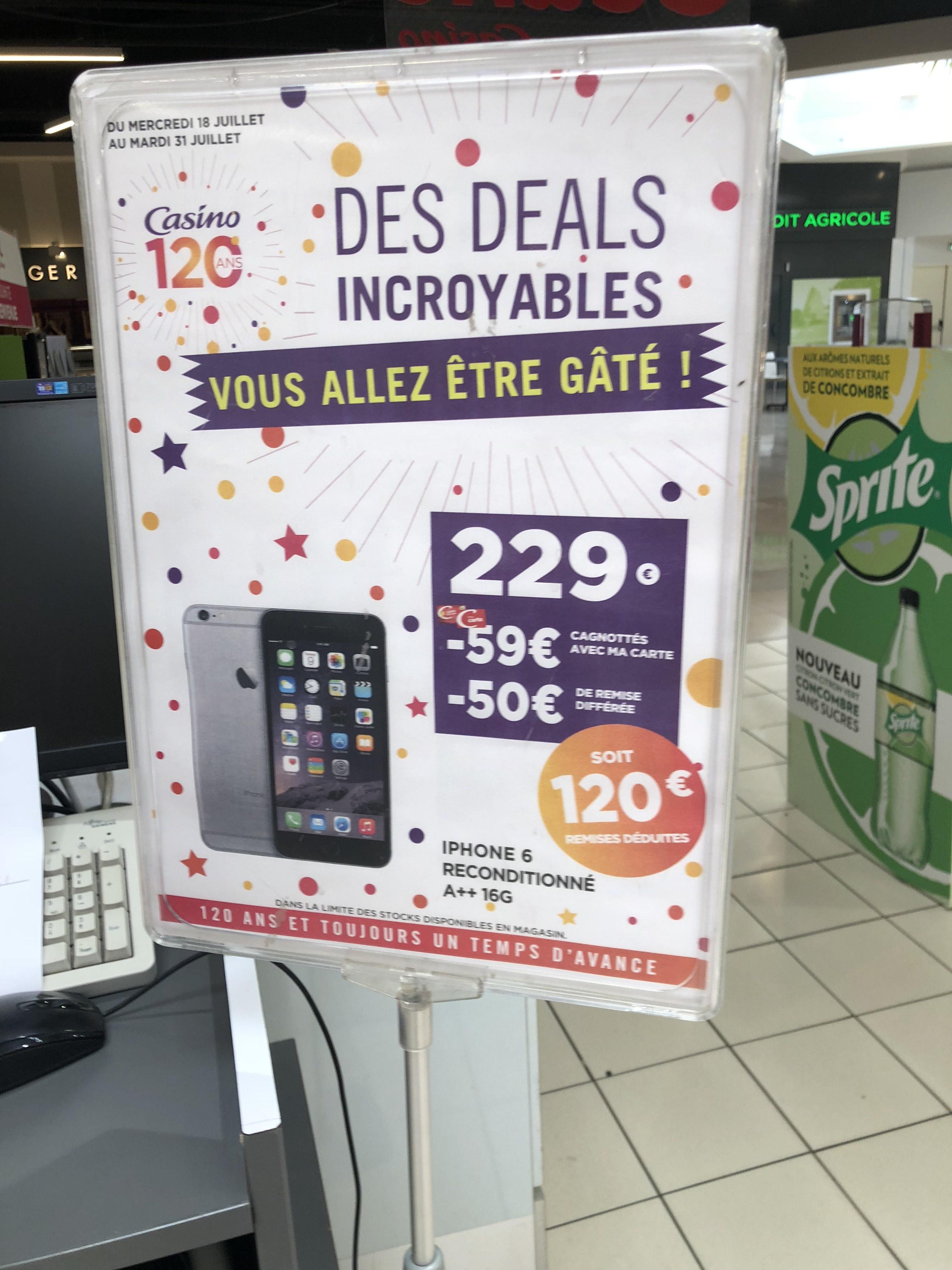 """[Carte Bancaire Casino] Smartphone 4.6"""" Apple iPhone 6 - 16 Go (reconditionné) (via 59€ sur la carte fidélité + ODR 59€)"""