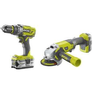 Pack Ryobi One + - Perceuse à percussion + meuleuse 115 + batteries 2.0 & 4.0Ah + chargeur