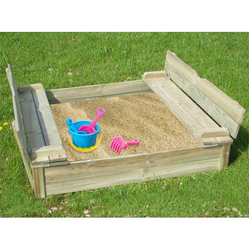 Bac à sable en bois avec banc