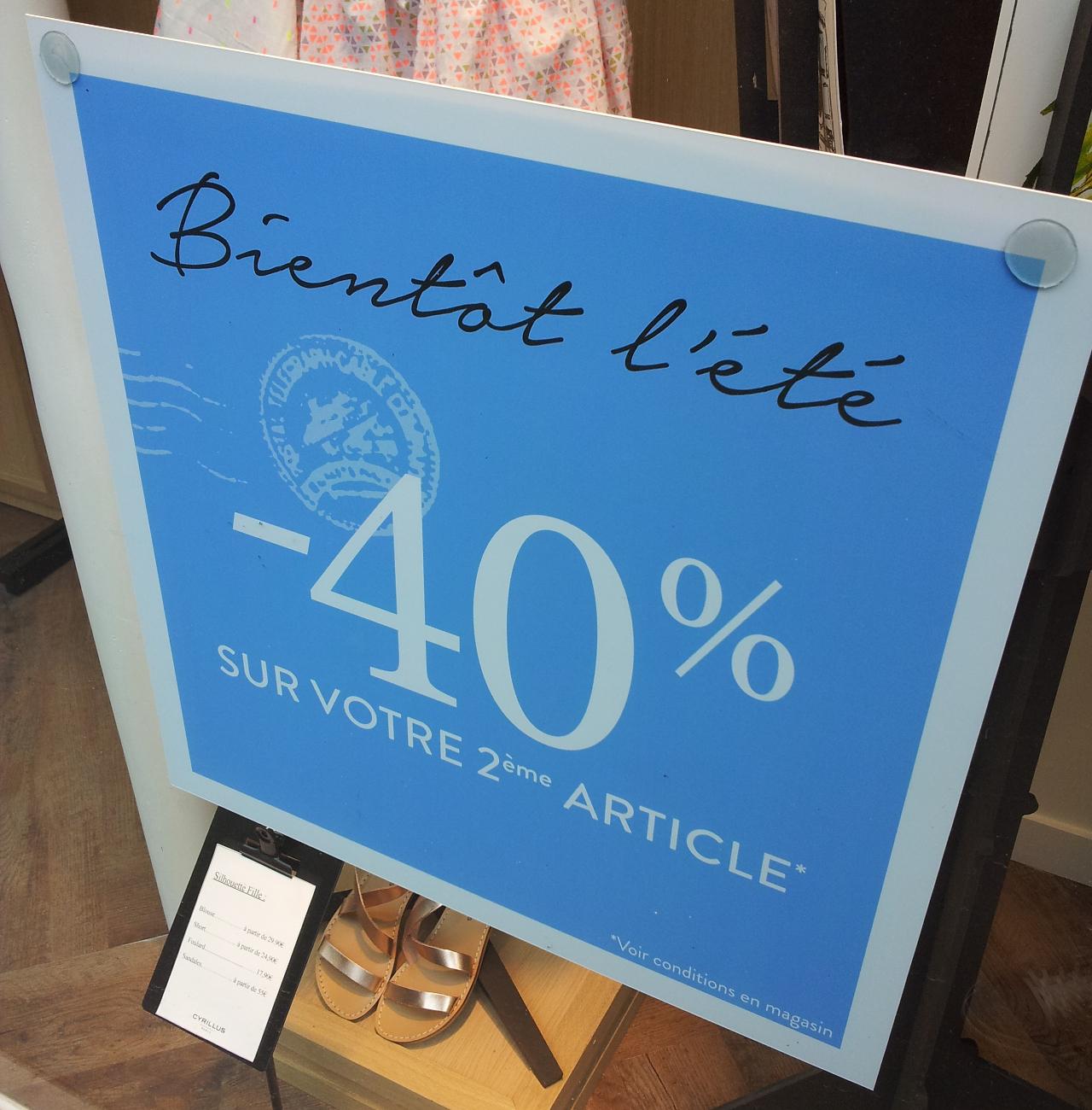 [Carte de fidélité] 40% de réduction sur votre 2ème article acheté (le moins cher)