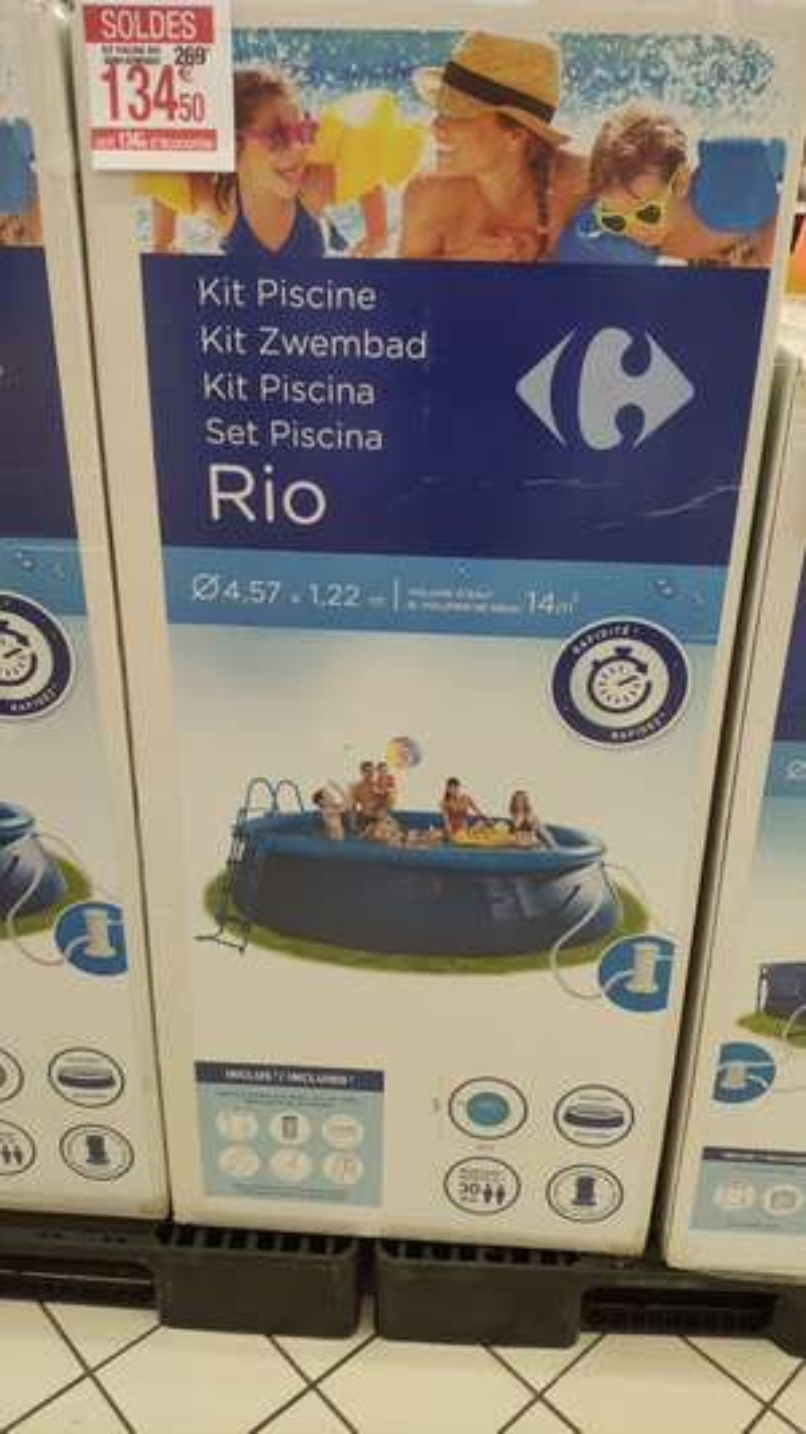 Piscine autoportée Carrefour Rio - 4.47x1.22 m, avec système de filtration et accessoires - Lieusaint (77)