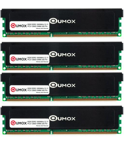 Kit mémoire DDR3 Qumox 32 Go (4x8Go) - 1600 MHz