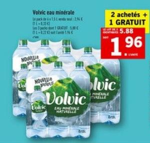 Lot de 3 packs de 6 bouteilles d'eau minérale Volvic (1.5 L)