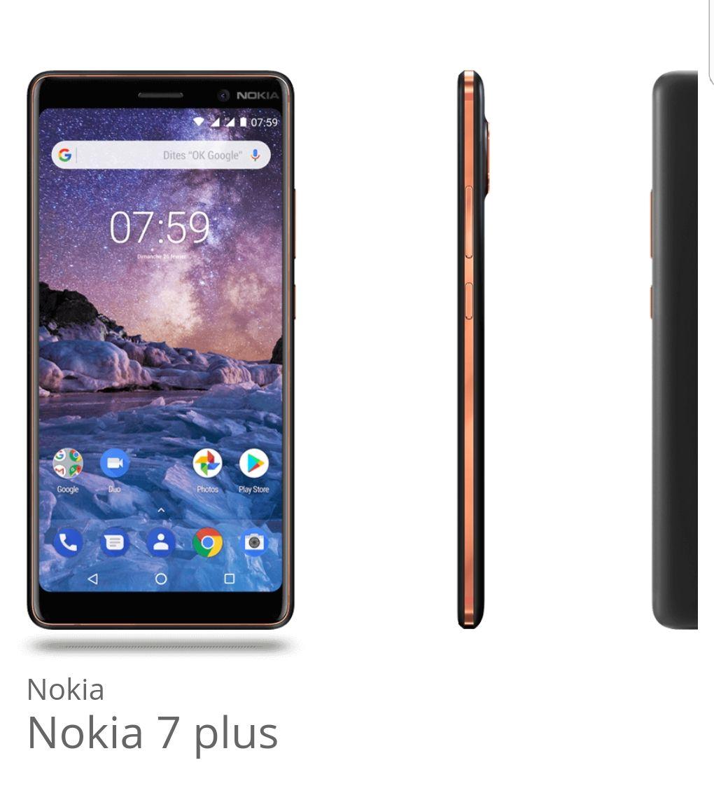 """Smartphone 6"""" Nokia 7 Plus (Coloris au choix) - 64 Go (Via ODR 50€)"""