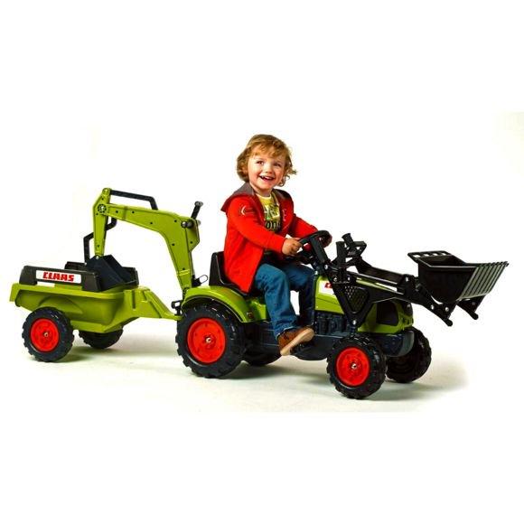 Jouet tracteur à pédales Claas Arion 410 avec remorque et excavatrice