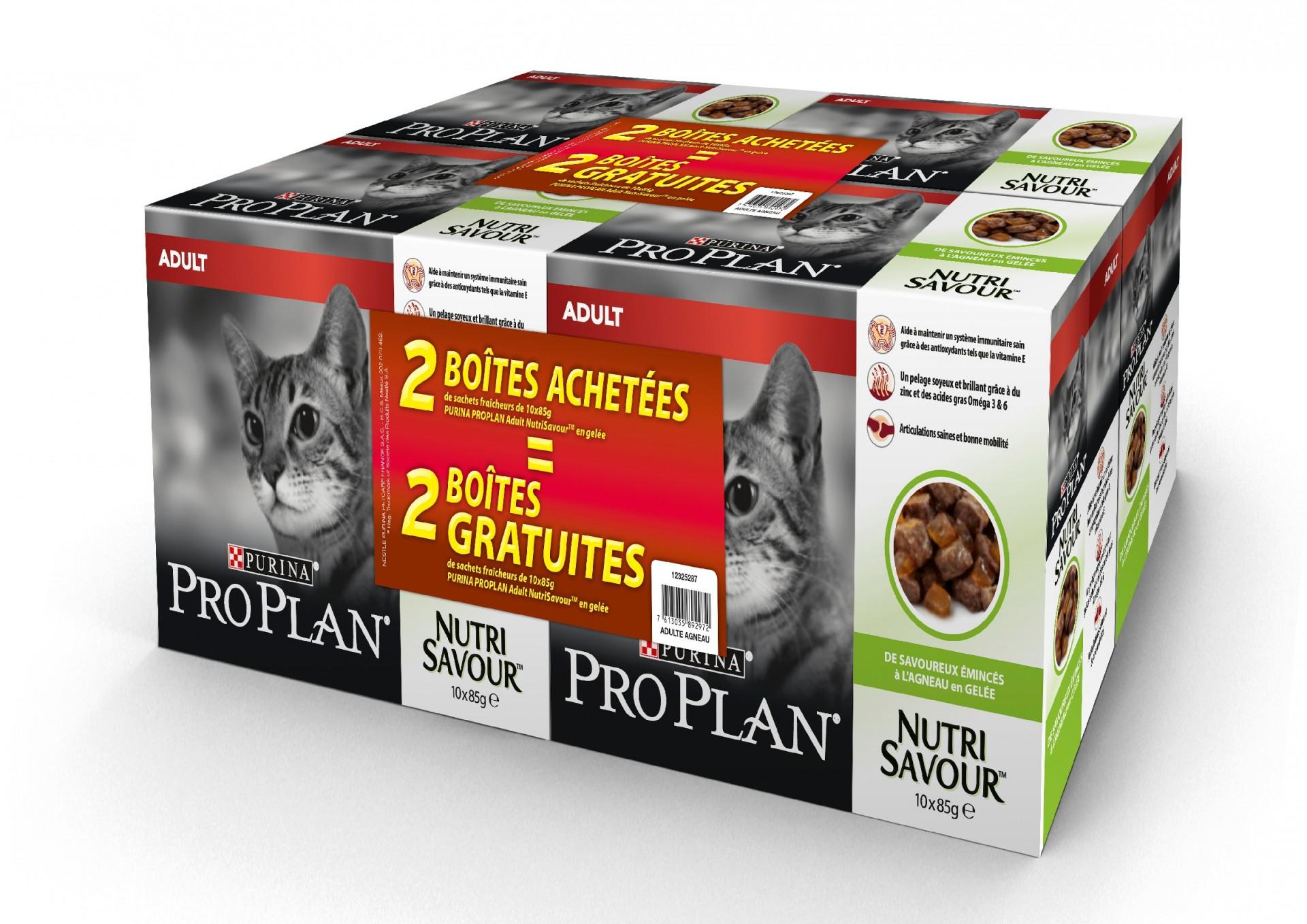 Sélection de Nutrisavour Adult (Lot de 4) en promotion - Ex: ProPlan Nutrisavour agneau 10 x 85 g Lot de 4