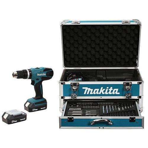 Perceuse sans fil à percussion Makita + 2 batteries + coffret alu + kit d'accessoires