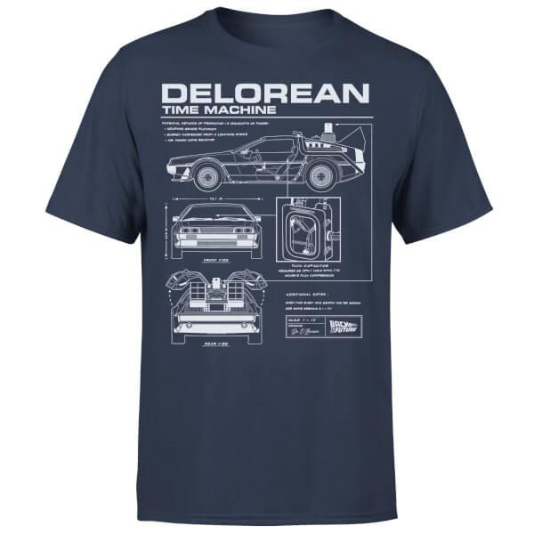 T-Shirt Homme Retour vers le Futur Schéma de la DeLorean - Bleu Marine / 100% Coton (taille au choix)