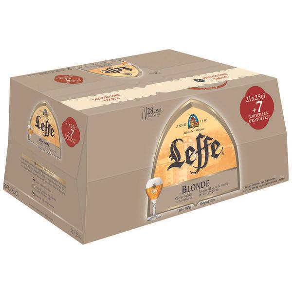Pack (21 + 7 gratuites) bouteilles de bières blondes Leffe - 28x25cl