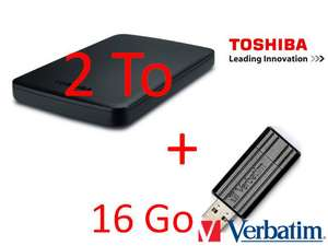 """Disque dur externe 2.5"""" Toshiba Canvio 2To USB 3.0 + clé Verbatim 16Go"""