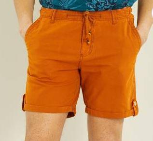 Bermuda en coton et lin - Orange