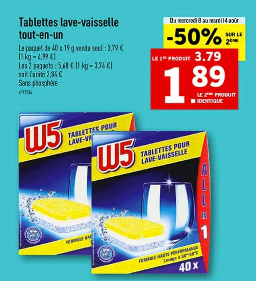 2 packs de 40 Tablettes lave-vaisselle tout-en-un W5 All in 1