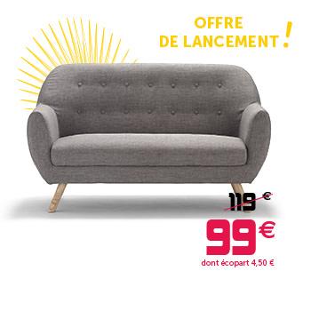 Canapé Banquette Scandinave Joseph Gris 143 X 65 X 84 Cm