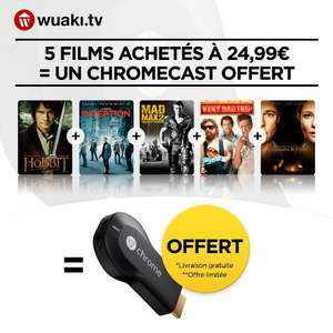 Chromecast +  5 films en VOD  ou Saison 1 de Scandal ou Better Call Saul HD