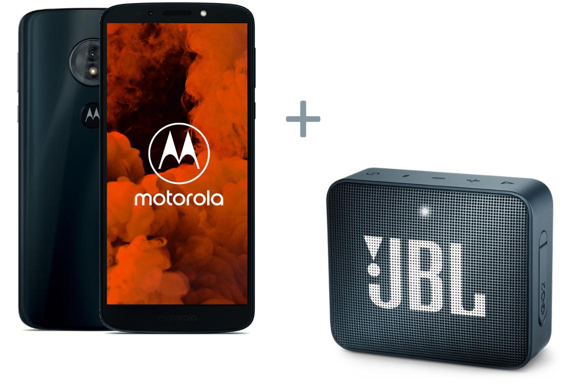 """Smartphone 5.7"""" Motorola G6 Play (Bleu) - HD+, Snapdragon 430, RAM 3 Go, ROM 32 Go, 4000 mAh + enceinte bluetooth JBL Go 2 Bleu Marine (via ODR de 20€)"""