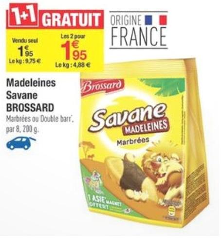 Lot de 2 Paquets de Madeleines Savane (Via Prixing)