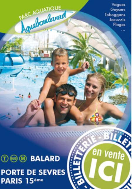 Billet Aquaboulevard pour 1 jour, valable le lendemain de l'achat - Adulte à 17€ & Enfants à 10€  (75)