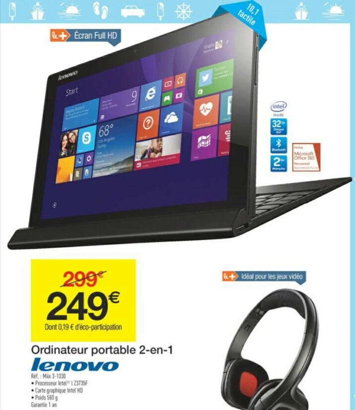 "Tablette convertible 10.1"" Lenovo Miix 3-1030 - 32 Go, Win 8.1 (via ODR 50€)"