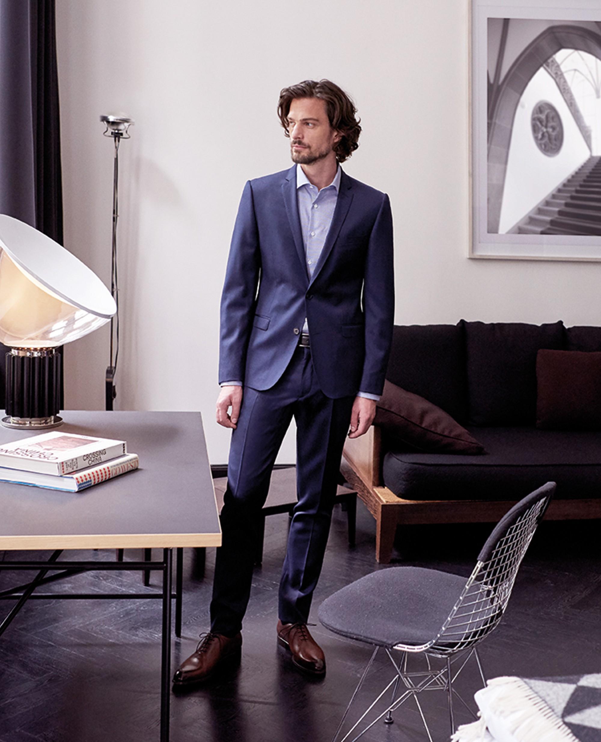 Costume en tissu italien Burton (veste + pantalon) - Bleu