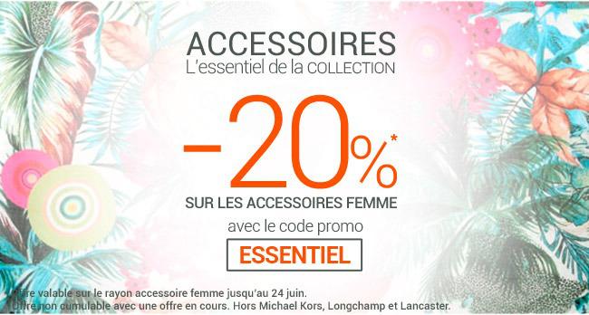 20% de réduction sur les accessoires femme