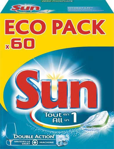 60 Tablettes Lave-vaisselle Sun tout en un (via 5,50€ en bon d'achat)