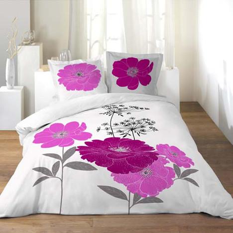 Parure Housse de couette 240 x 220 en coton + Oreillers - Motif à fleur