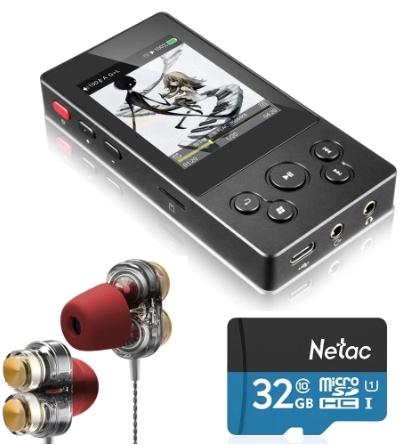Lecteur HiFi  xDuoo X3II  + Carte Netac 32Go + Ecouteurs à double bobine