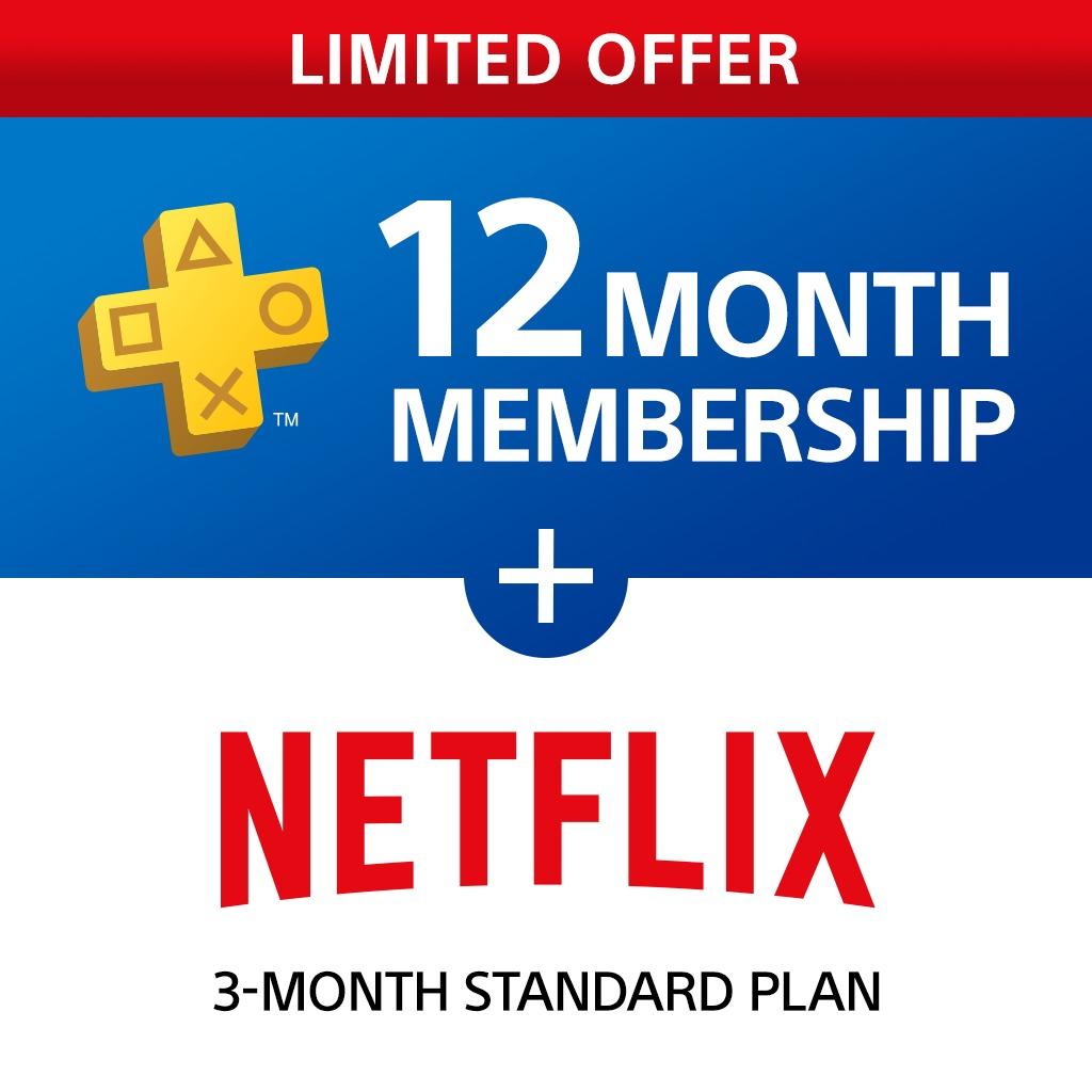 Abonnement de 12 mois au service PlayStation Plus + abonnement de 3 mois à Netflix HD (Store Indonésien)