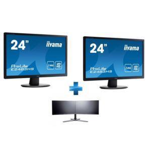 "Pack 2 Écrans PC 24"" Iiyama ProLite E2483HS-B3 - FHD, 1ms, 75Hz + support double bras IIYAMA DS1002C-B1"