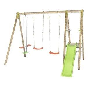 balan oire portique en bois trigano tutti 3 agr s 4 enfants avec toboggan m. Black Bedroom Furniture Sets. Home Design Ideas