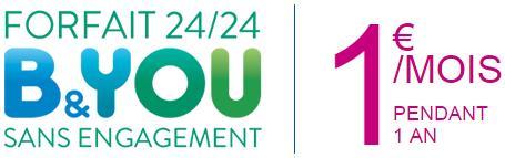 [Abonnés Bouygues] Forfait B&YOU 24/24 à 1€/mois pendant 12 mois au lieu de 9,89€/mois en ligne et en magasin
