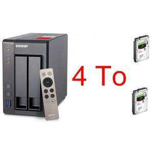 Pack serveur NAS QNAP TS-251+ (2 baies) + 2 disques durs externes Seagate IronWolf (2 To)