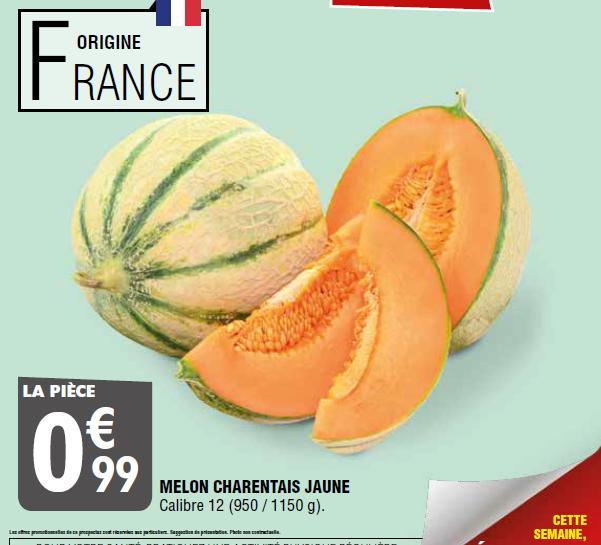 Melon Charentais Calibre 12 (Origine France) - 950/1150g
