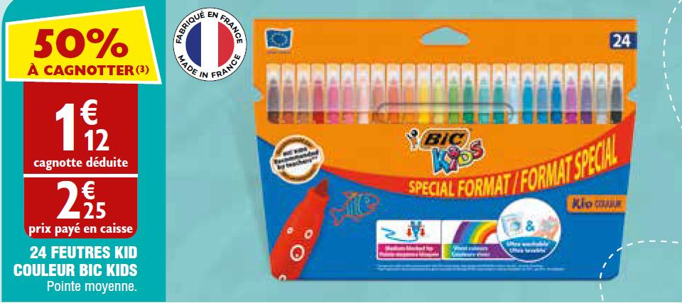 Lot de 24 Feutres de Coloriage Bic Kid Couleur (Via Carte de Fidélité + BDR)