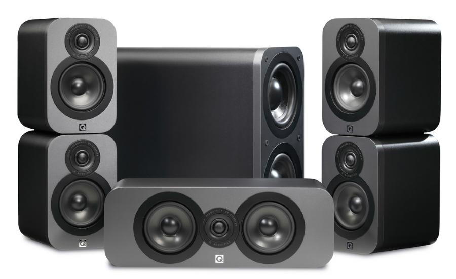 Pack d'enceintes 5.1 Q Acoustics 3000 - Walnut ou graphite