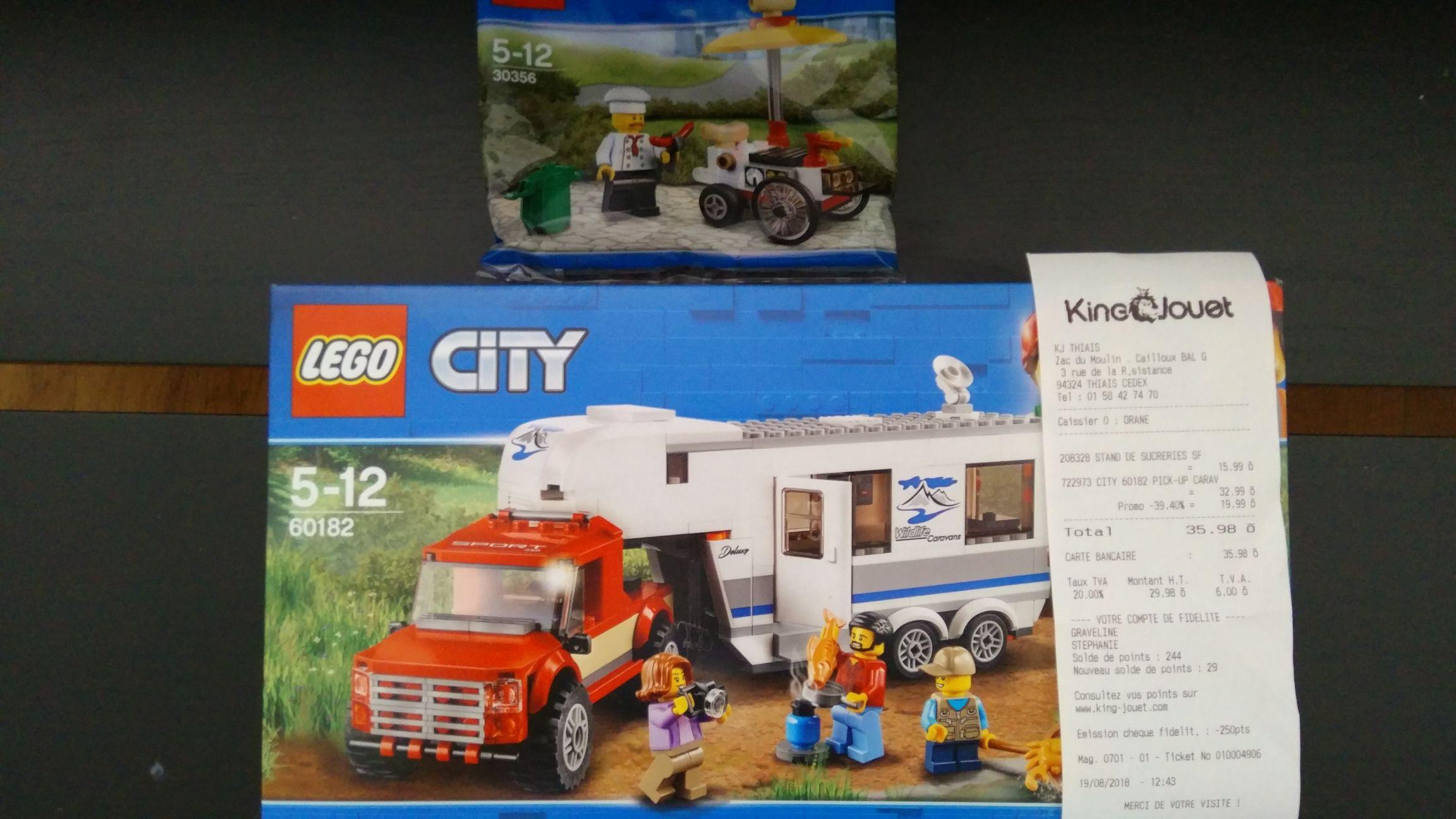 Lego City 60182 Le Pick-up et sa caravane + Lego 30356 Le stand de hot-dog offert - King Jouet Thiais village (94)