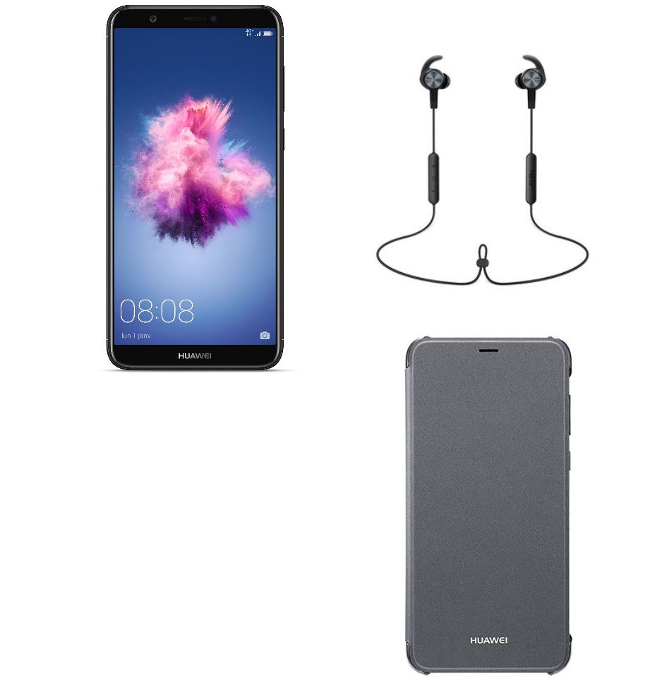 """Smartphone 5.65"""" Huawei P Smart - Noir (Full HD, Kirin 659, 3 Go de RAM, 32 Go ROM) + Ecouteurs bluetooth AM61 + Etui folio (via ODR 30€)"""