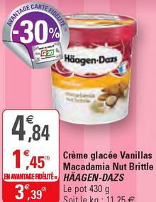 Sélection de Glaces en Promotion : EX : Pot Haagen-Dazs Macadamia Nut Brittle 430g  (Via Carte de Fidélité + BDR)