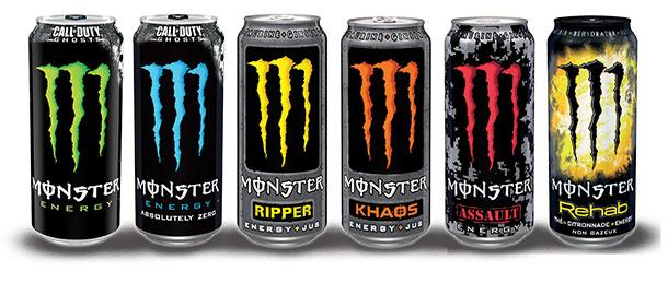 3 Canettes de boisson énergisante Monster Energy (via BDR de 1€)